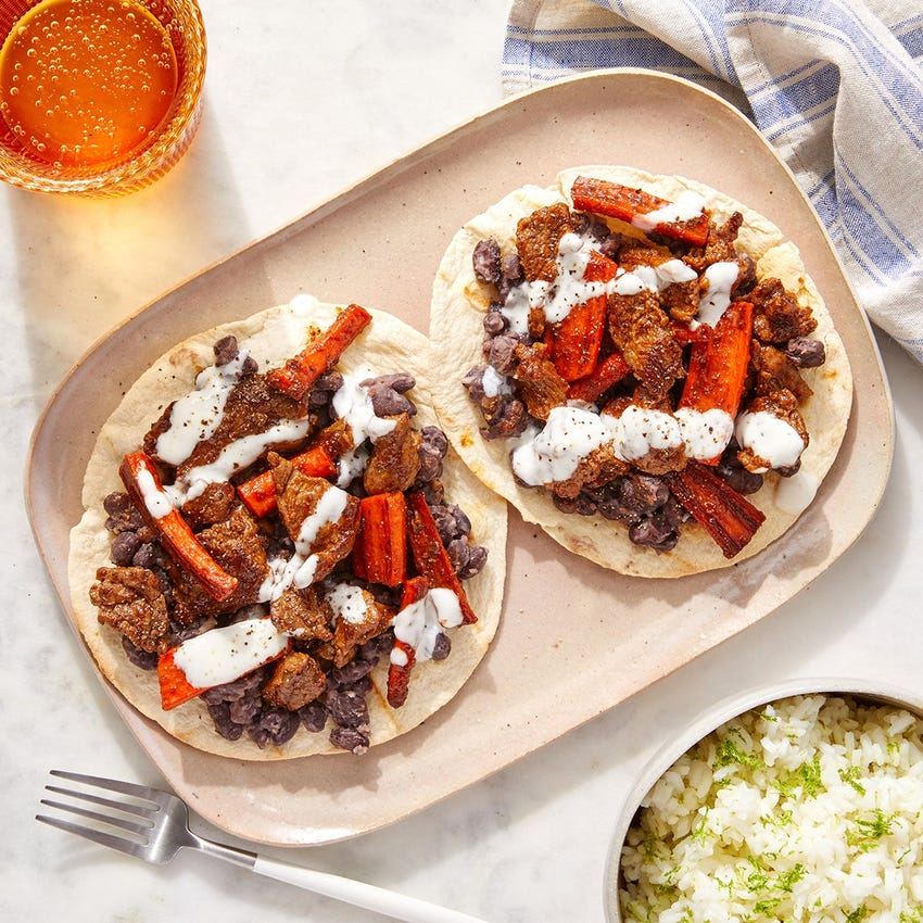 Honey-Chipotle Beef & Black Bean Tostadas with Lime Rice