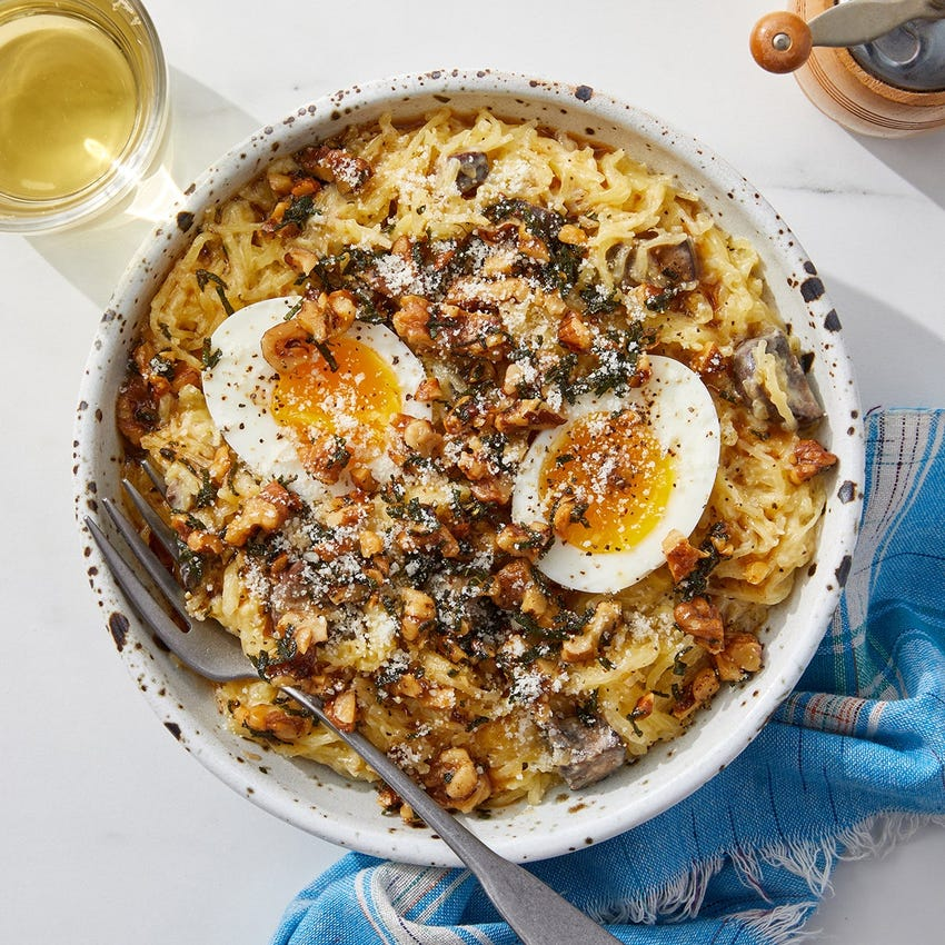 Creamy Roasted Spaghetti Squash with Mushrooms, Sage & Brown Butter Walnuts