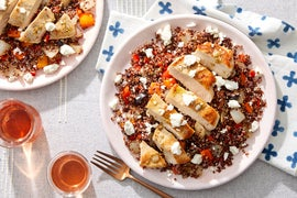 Greek Chicken & Quinoa Salad with Sweet Peppers & Goat Cheese