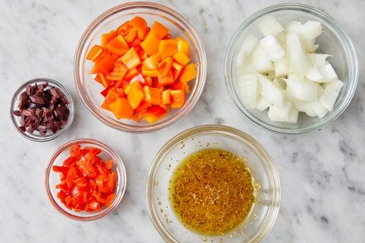 Prepare the ingredients & make the vinaigrette: