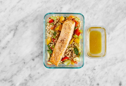 Assemble & Store the Roasted Salmon & Vegetable Barley
