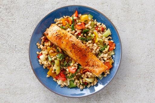 Finish & Serve the Roasted Salmon & Vegetable Barley
