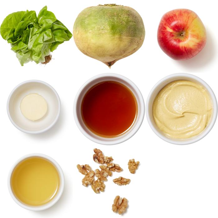 Apple & Watermelon Radish Salad with Walnuts & Brown Butter Vinaigrette
