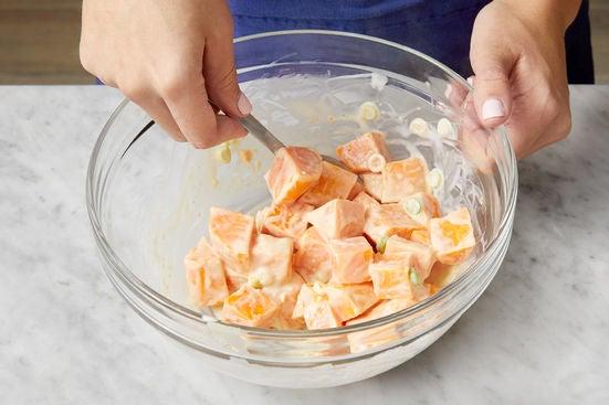 Cook & dress the sweet potatoes: