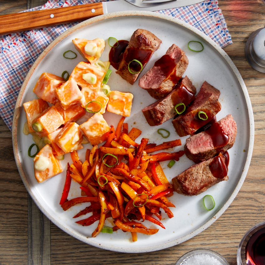 Seared Steaks & Spicy Peppers with Yuzu & Miso-Dressed Sweet Potatoes