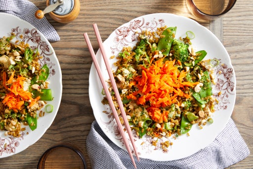 """Freekeh & Vegetable """"Fried Rice"""" with Honey-Sesame Carrots"""