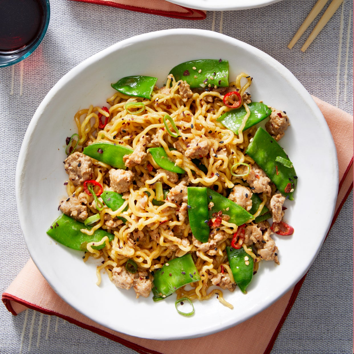 Sichuan-Style Pork Noodles with Snow Peas & Bird's Eye Chile