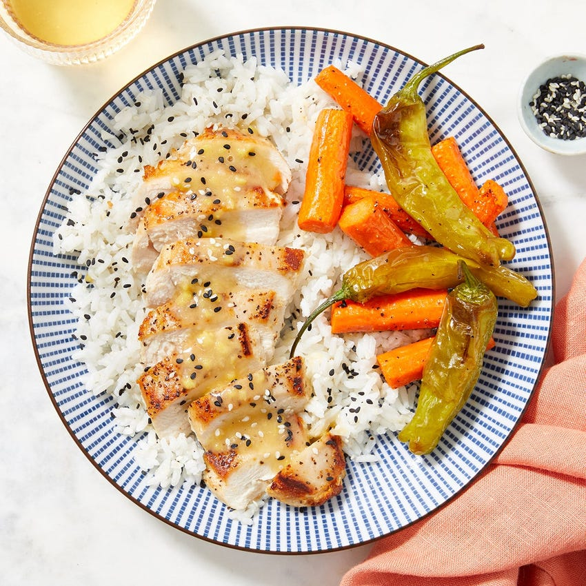 Miso-Ginger Chicken with Sesame Rice & Roasted Vegetables