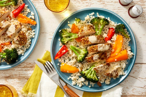 Za'atar-Roasted Chicken with Pearl Couscous & Sesame Dressing