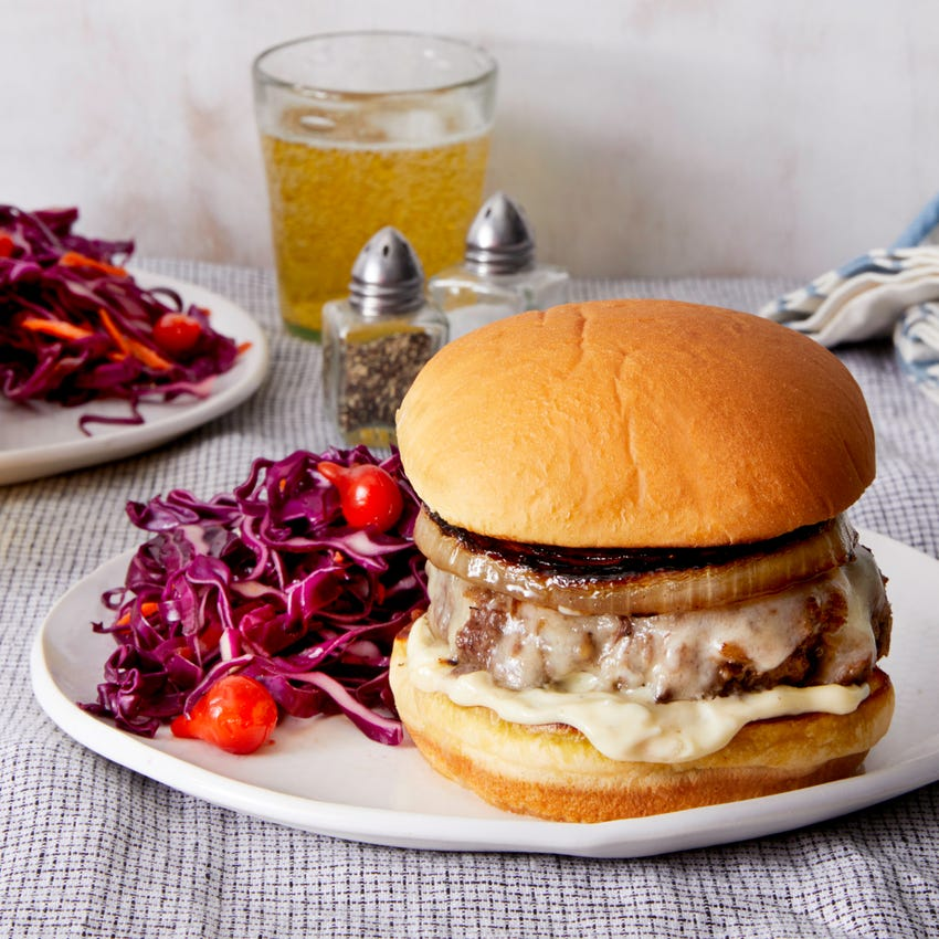 White Cheddar Cheeseburgers with Tangy Cabbage Slaw