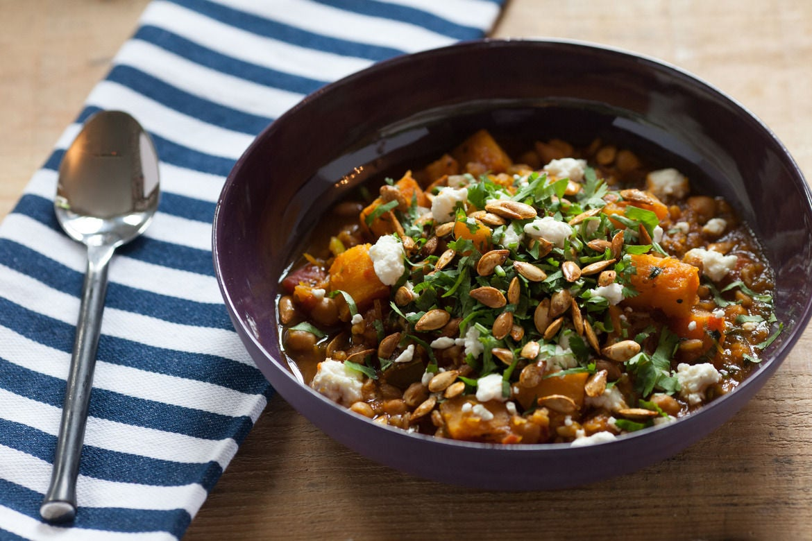 Pumpkin Vegetable Potage with Toasted Farro