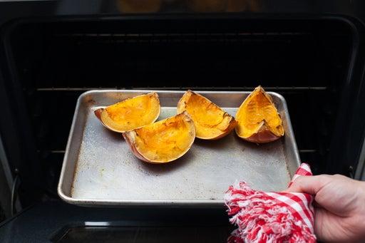 Prep and roast the pumpkin: