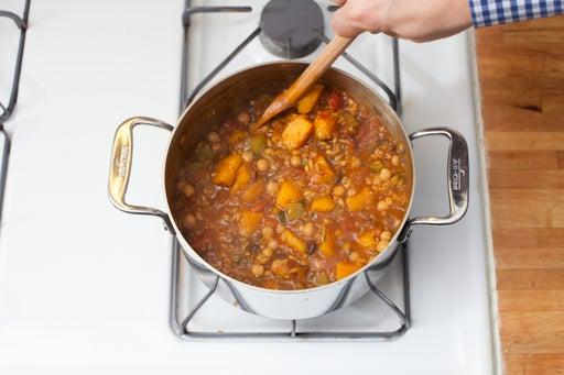 Add the pumpkin & chickpeas