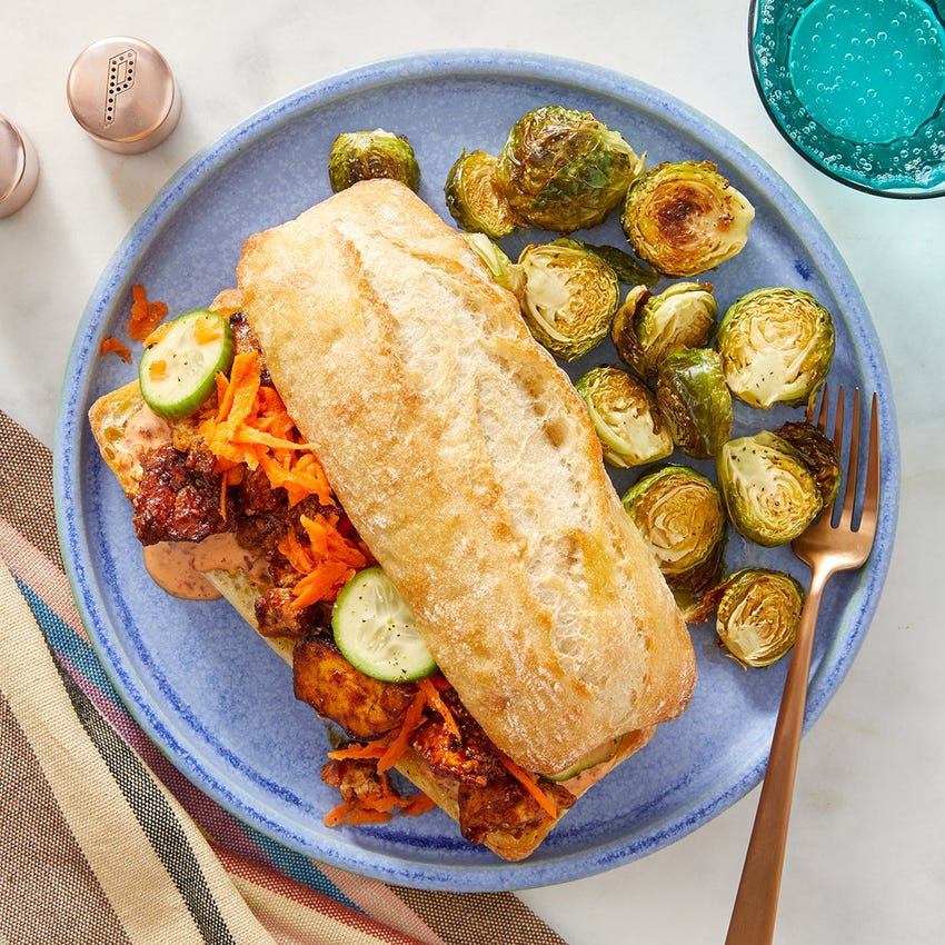 Tofu Bánh Mì with Sesame-Roasted Brussels Sprouts