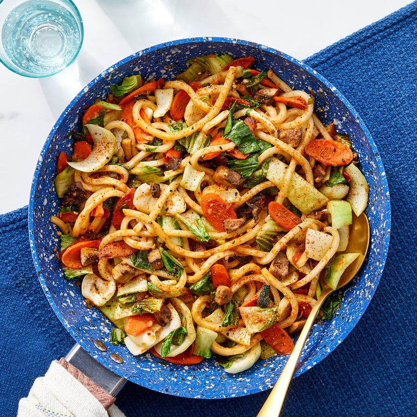 One Pan Udon Noodle & Spicy Peanut Stir-Fry with Mushrooms, Carrots & Bok Choy