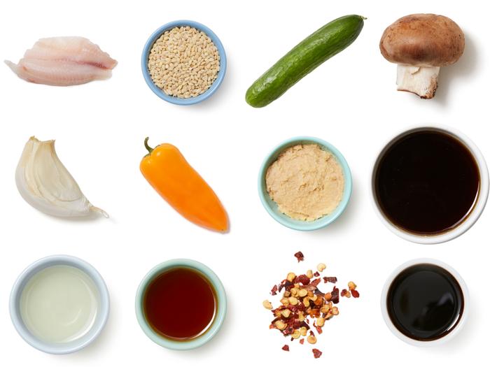 Miso & Maple-Glazed Tilapia with Barley, Bell Pepper & Mushrooms