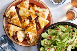 Cheesy Chicken Quesadillas with Butter Lettuce & Pickled Pepper Salad