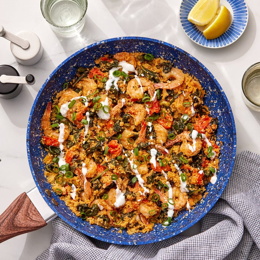 Romesco Shrimp & Couscous Skillet with Spinach & Tomatoes