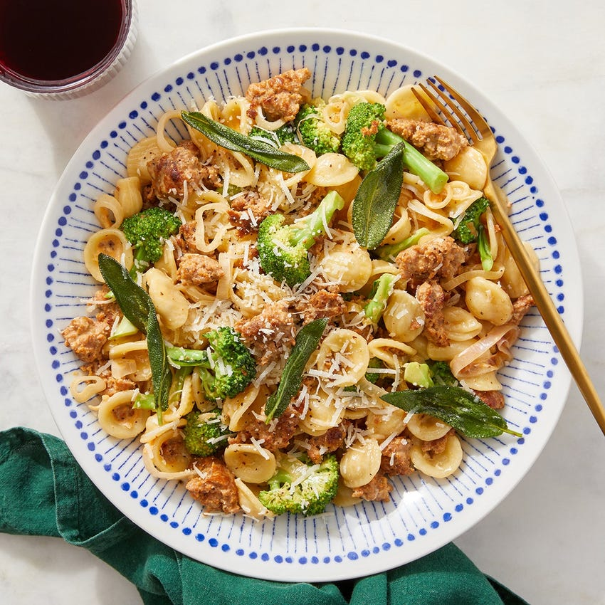 Italian Pork Sausage & Broccoli Pasta with Fried Sage