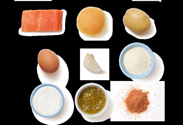 Salmon Burgers & Smoky Potatoes with Tartar Sauce