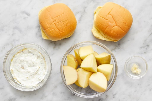 Prepare the ingredients & make the tartar sauce:
