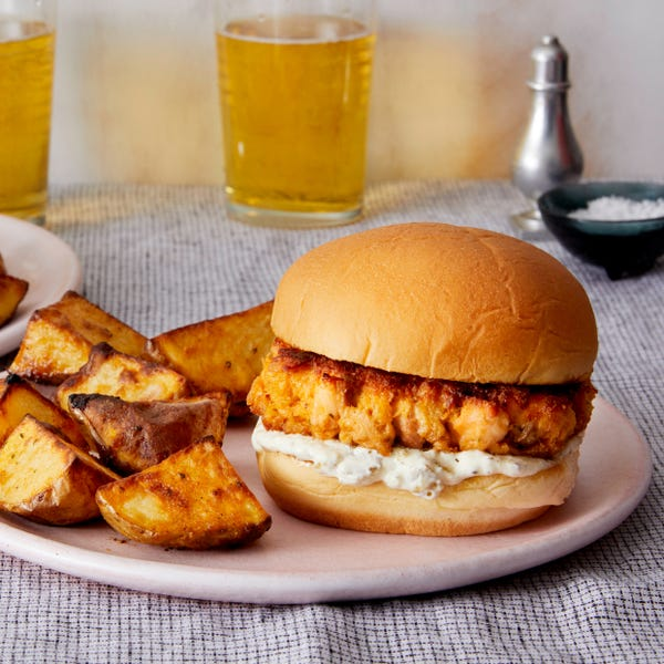 Salmon Burgers & Smoky Potatoes with Tartar Sauce