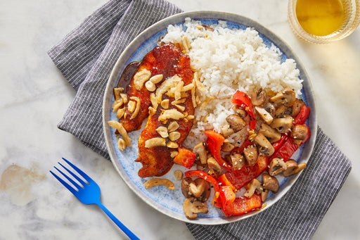 Curry-Glazed Tilapia & Rice with Ginger Mushrooms & Peppers