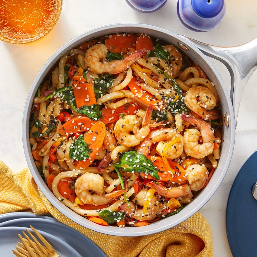 One-Pot Shrimp & Udon Noodles with Spinach & Peppers