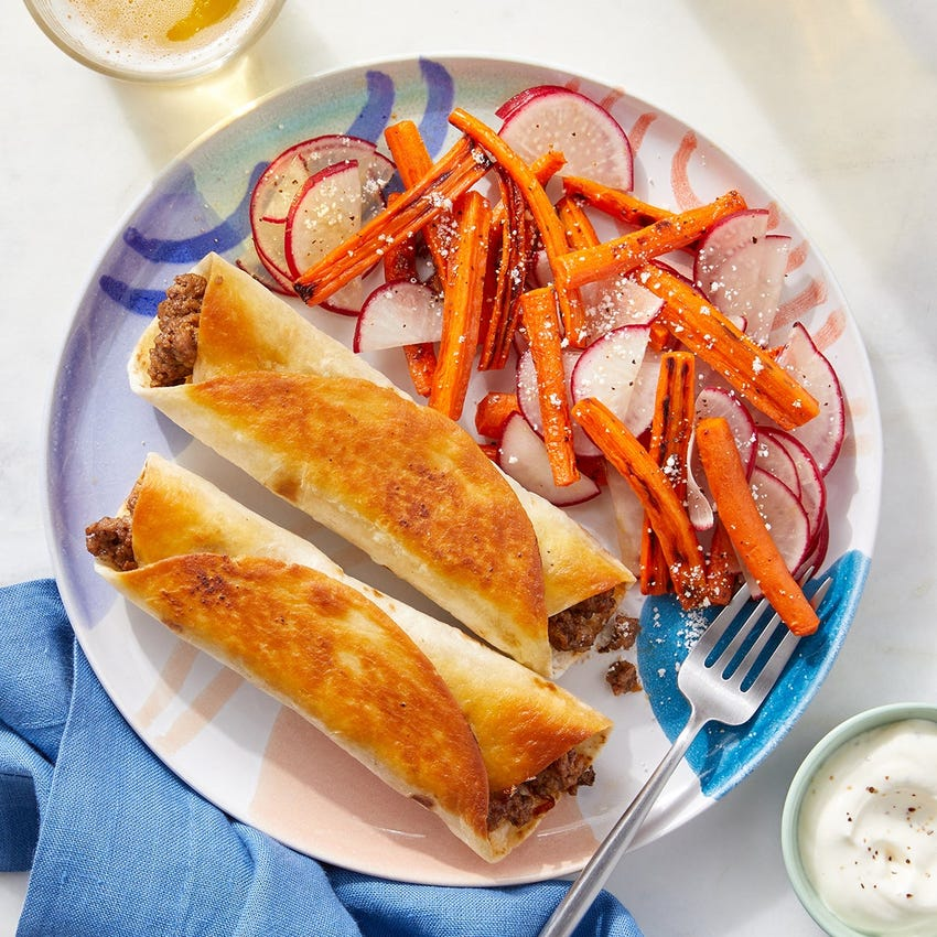 Cheesy Chipotle Beef Flautas with Radishes & Roasted Carrots