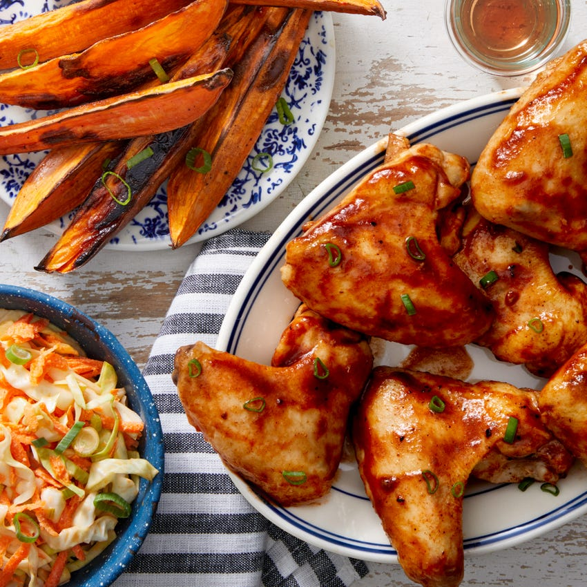 Maple & Barbecue-Glazed Chicken Wings with Sweet Potato Wedges & Coleslaw
