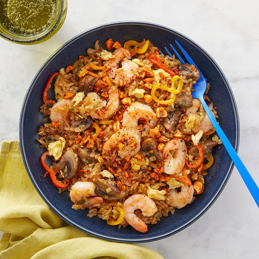 Shrimp Fried Rice with Mushrooms, Bell Pepper & Togarashi Peanuts