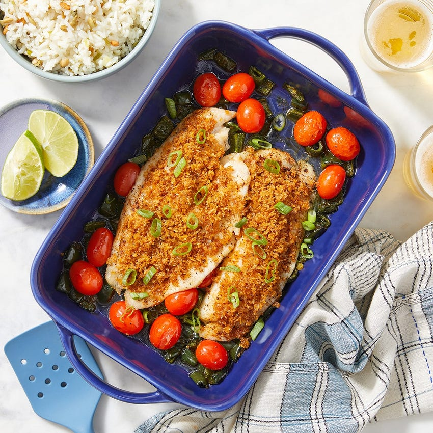 Baked Honey-Lime Tilapia with Poblano, Tomatoes & Rice