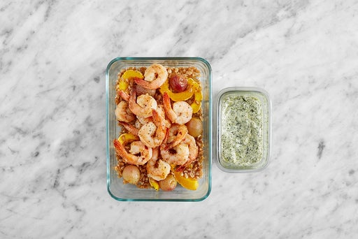 Assemble & Store the Creamy Salsa Verde Shrimp
