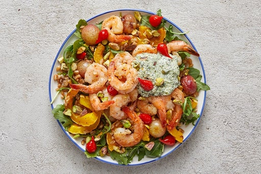 Finish & Serve the Creamy Salsa Verde Shrimp