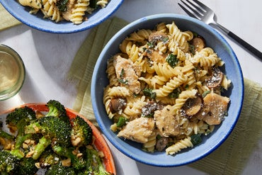 Stovetop Chicken Tetrazzini with Roasted Broccoli