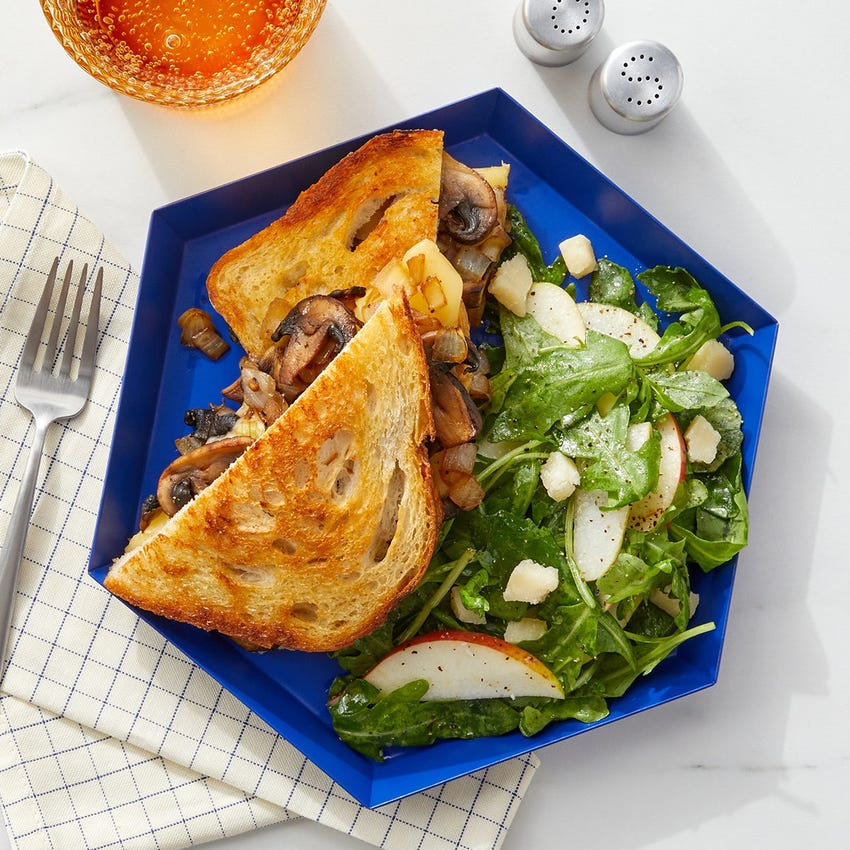 Mushroom Grilled Cheese Sandwich with Pear Salad