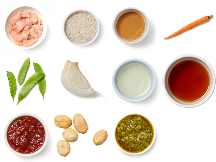 Spicy Peanut Chicken Stir-Fry with Rice, Snow Peas & Cilantro Sauce
