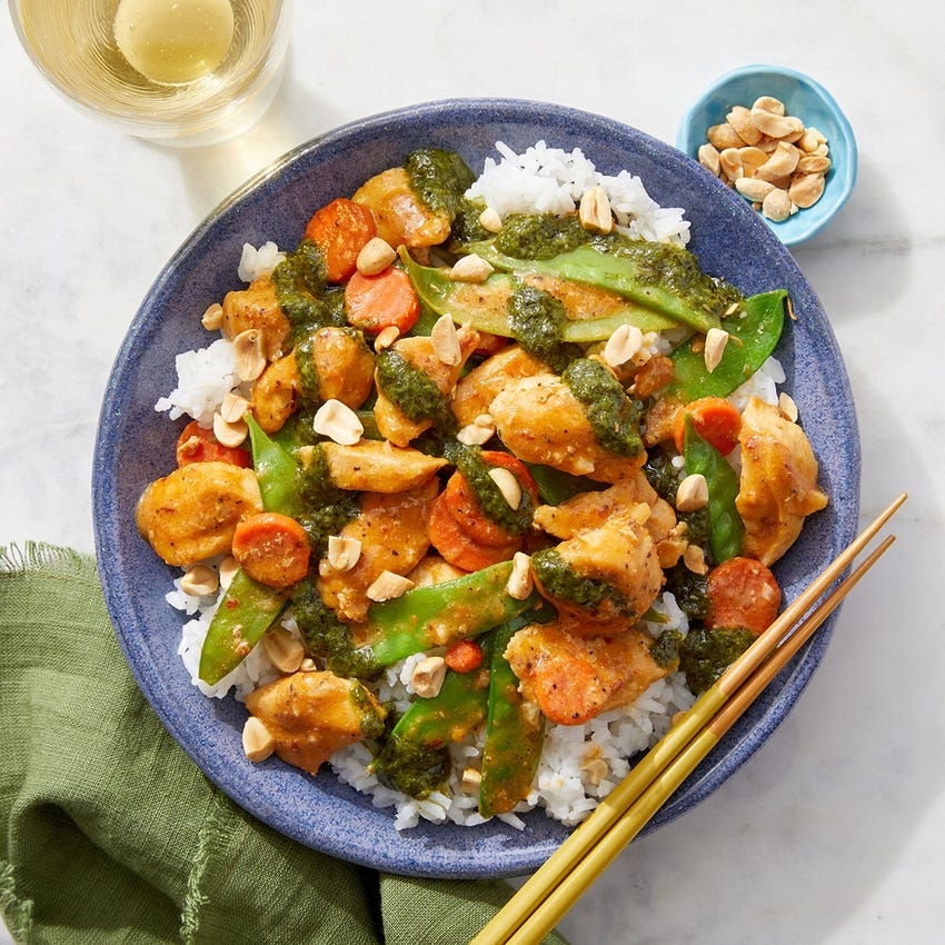 Spicy Peanut Chicken Stir-Fry with Rice, Snow Peas, & Cilantro Sauce