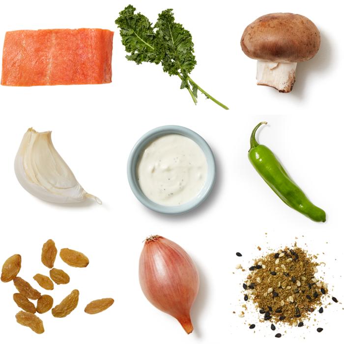 Seared Pork Chops & Tzatziki with Mushrooms, Kale & Shishito Peppers