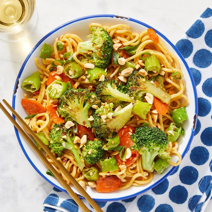 Spicy Vegetable Lo Mein with Shishito Peppers, Broccoli & Carrots