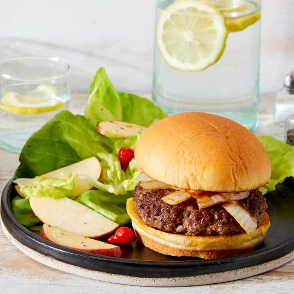 Creamy Caramelized Onion Burgers with Butter Lettuce Salad