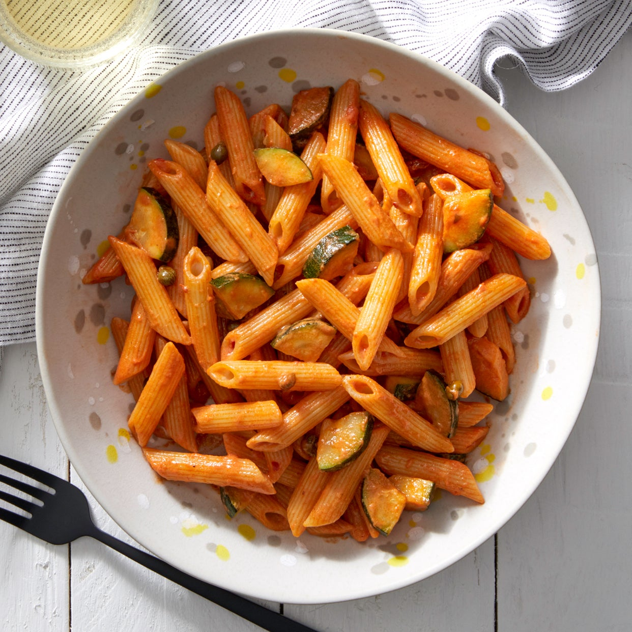 Spicy Penne Pasta with Zucchini & Capers
