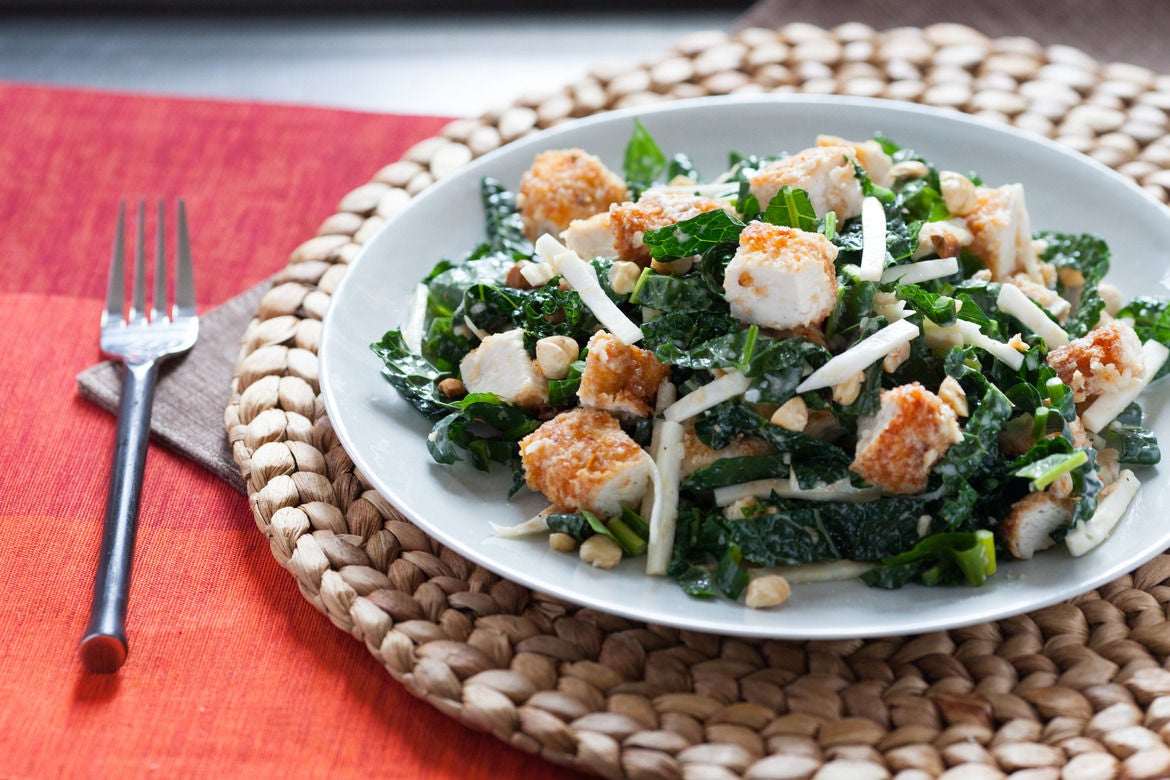 Recipe: Parmesan-Crusted Chicken with Kale Caesar Salad and Toasted ...
