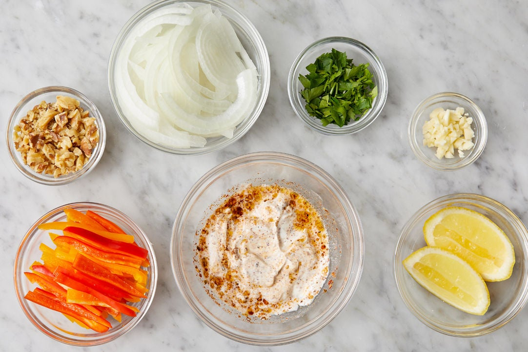 Prepare the ingredients & season the labneh: