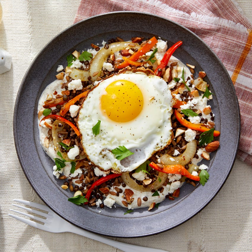 Farro & Lentil Mujaddara with Sweet Peppers, Labneh, & Almonds