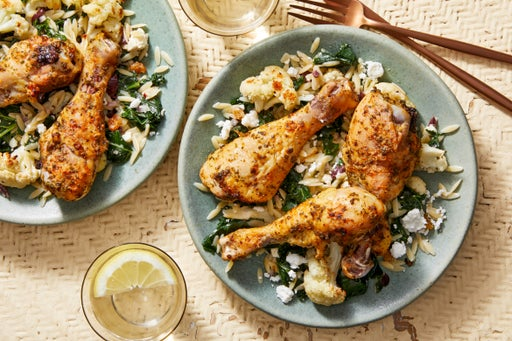 Roasted Chicken Drumsticks & Cauliflower with Orzo, Feta Cheese, & Olives