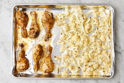 Roast the chicken & cauliflower: