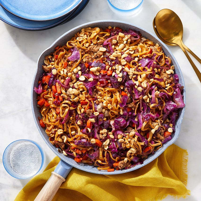 Soy-Glazed Pork Wonton Noodles with Red Cabbage & Carrots