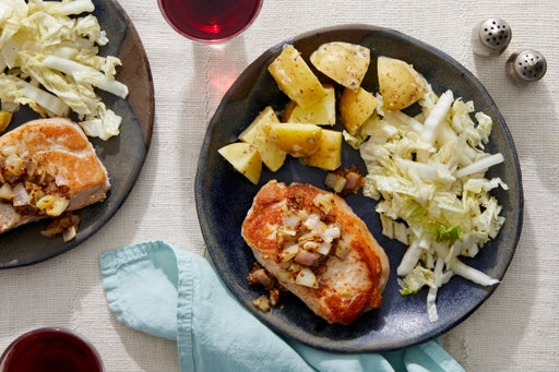 Seared Pork Chops & Pickled Mustard Seeds with Potato Salad & Slaw