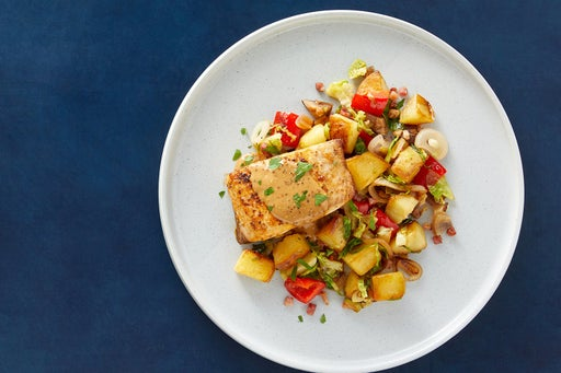 Seared Yellowtail & Creamy Dijon Sauce with Pancetta, Potatoes & Brussels Sprouts